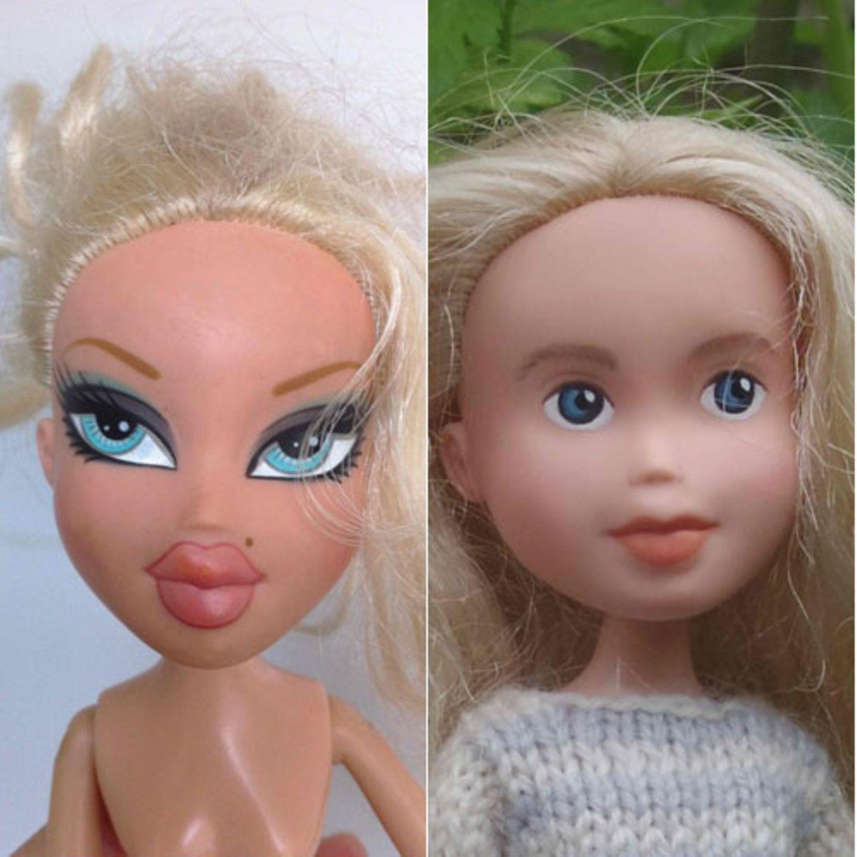 """Kennen Sie Bratz-Puppen? Die kleinen Plastik-Girlies sind vor einigen Jahren als Konkurrenz-Produkt zu Mattels Barbie auf den Markt gekommen und haben inzwischen auch deutsche Kinderzimmer erobert. Millionenfach werden sie in aller Welt verkauft. Bratz-Puppen sind kleiner, sehen aber noch viel künstlicher aus als Barbie. Auffällig sind vor allem die stark geschminkten Augen und riesigen Köpfe, die auf einem dünnen Körperchen stecken. Sonia Singh, die im australischen Tasmanien lebt, gefallen die schrillen Puppen überhaupt nicht. Der Tussi-Stil passt nicht zu dem naturverbundenen Leben, das ihre Familie führt. Also beschloss sie, Bratz-Puppen nach ihrem Geschmack umzugestalten. Das Ergebnis ist umwerfend: Puppen, die aussehen wie echte Mädchen, natürlich und dabei sehr hübsch. Singh nennt sie die """"Tree Change Dolls"""". """"Tree Change"""" steht für die Verwandlung des Glamour-Stils in einen eher bodenständigen Look. Ihre Modelle findet Sonia Singh meist in Second-Hand-Läden. Dann malt sie ihnen mit Farbe komplett neue Gesichter, ohne Make-up, mit kleineren Augen und Mündern. Sie verpasst den Puppen eine neue Frisur und etwas größere, normal geformte Füße. Auch die Kleidung entwirft sie selbst, zusammen mit ihrer Mutter. Statt Miniröcken und Highheels tragen die """"Tree Change Dolls"""" selbstgemachte Strickkleider und Latzhosen. Sachen, mit denen ein Mädchen auch mal auf den Baum klettern kann."""