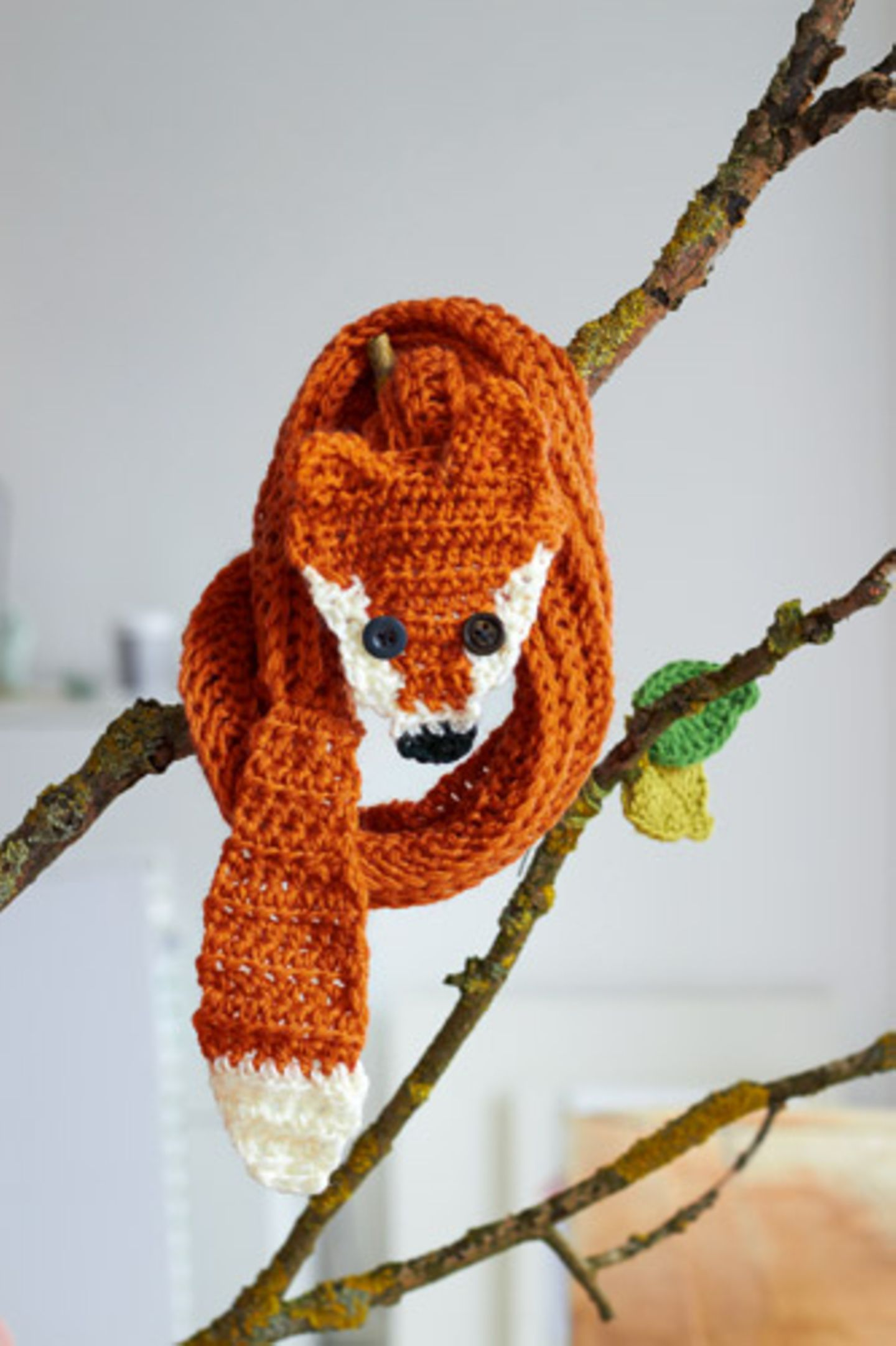 Gehäkelter Fuchs als Schal