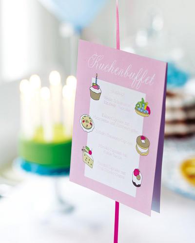 Kuchen-Menükarte