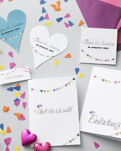 Hochzeitseinladungen zum Ausdrucken