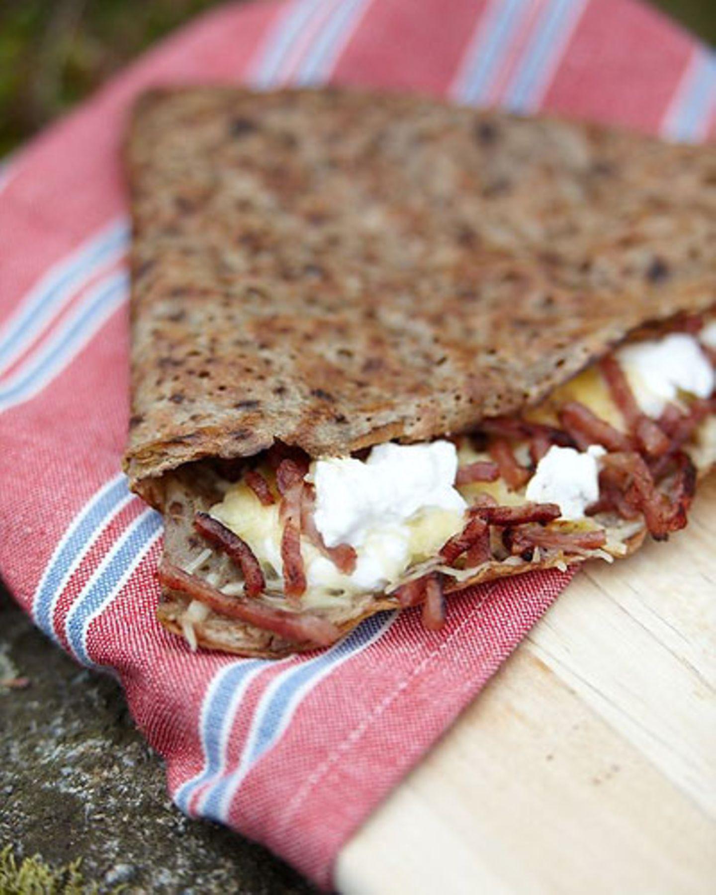 Camping Rezepte: Schinken-Käse-Galette