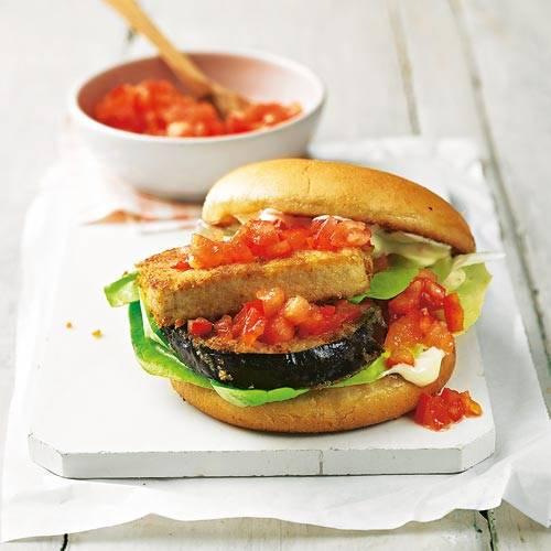 Fleischlos: Tofu-Auberginen-Burger