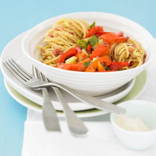 Spaghetti Carbonara mit Paprikaspeck