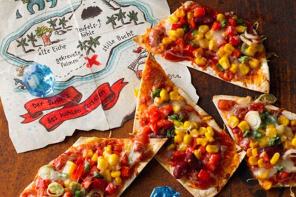 Buffet für Kinder: Schatzkarten-Pizza