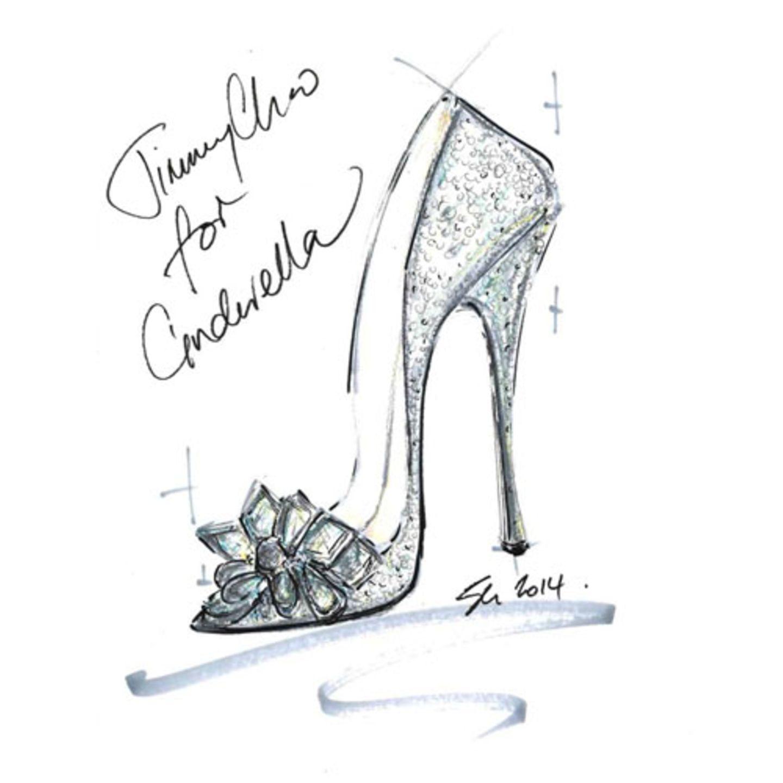 Die Geschichte rund um Cinderella, ihrem Schuh und dem Prinzen mag zwar nicht ganz zeitgemäß sein, der gläserne Heel lädt aber nach wie vor zum Träumen ein. Genau diese Träume haben elf Schuhdesigner nun in die Realität umgesetzt: Anlässlich der Premiere des Disney-Klassikers wurde der legendäre Schuh neu interpretiert und in einer Cinderella-Ausstellung in Berlin präsentiert. Dabei sind Meisterwerke entstanden, in die wir zu gern mal schlüpfen würden - allerdings nicht, um unseren Traumprinzen zu finden. Da sollten dann doch andere Eigenschaften als die Schuhwahl überzeugen, oder? Oben: Skizze von Jimmy Choo