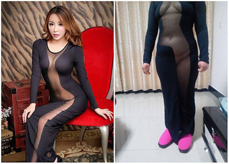 Auweia, das hatte sich eine chinesische Online-Shopperin irgendwie anders vorgestellt: Im Webshop sah dieses durchsichtige Kleid sehr schmeichelhaft auf dem Model aus. Was geliefert wurde, ist weniger beeindruckend und wirkt an der Käuferin wie eine Mischung aus transparentem Schlafanzug und Halloween-Kostüm. Irritiert postete sie diese Bilder auf der Website des Herstellers Taobao.