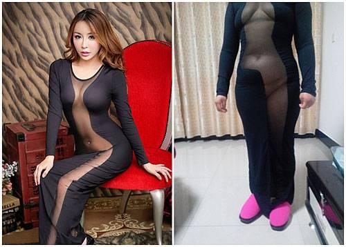 Shopping-Flop: Auweia, das hatte sich eine chinesische Online-Shopperin irgendwie anders vorgestellt: Im Webshop sah dieses durchsichtige Kleid sehr schmeichelhaft auf dem Model aus. Was geliefert wurde, ist weniger beeindruckend und wirkt an der Käuferin wie eine Mischung aus transparentem Schlafanzug und Halloween-Kostüm. Irritiert postete sie diese Bilder auf der Website des Herstellers Taobao.