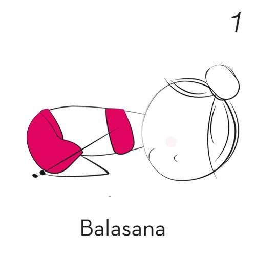 1) Balasana (Kindhaltung)