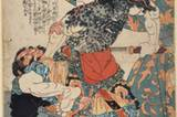 Utagawa Kuniyoshi, Tanmeijirôgenshôgo, Farbholzschnitt um 1827-1830