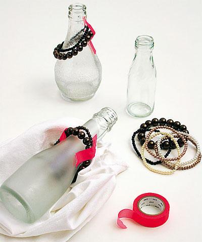 Glasflaschen Perlenketten