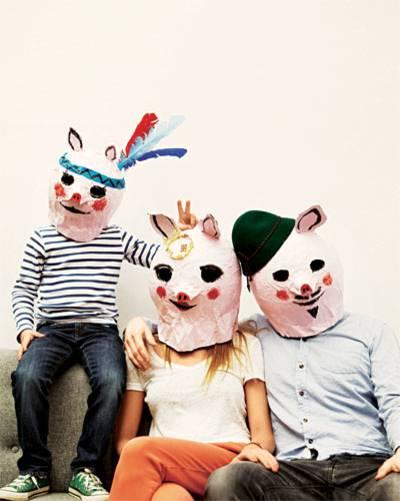 Schweinchenmasken aus Pappmaché