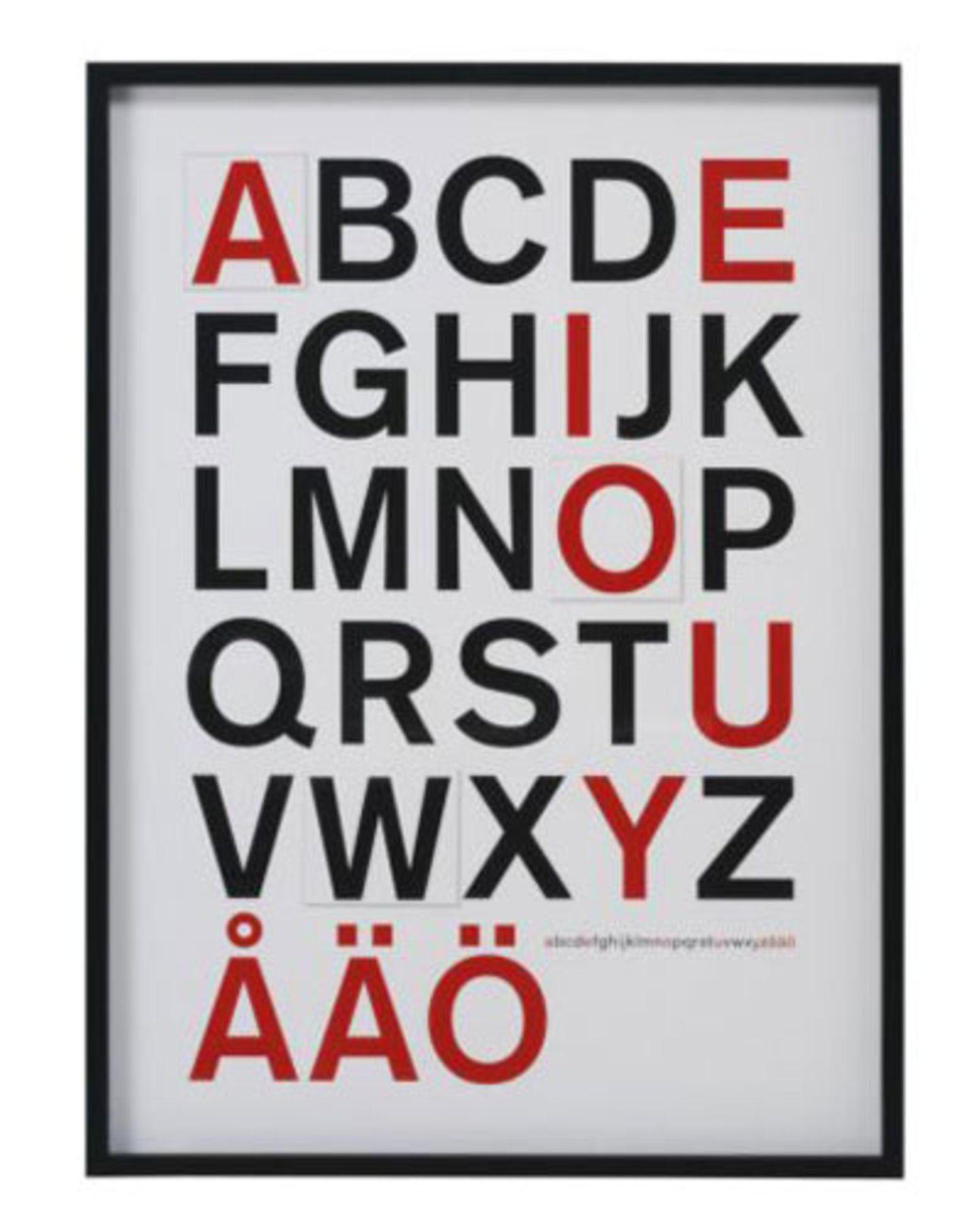 Unterschätzen Sie nicht die Macht des Alphabets, erst recht nicht der Vokale. Bild mit Rahmen von Ikea, 68 Mal 93 Zentimeter, um 40 Euro.