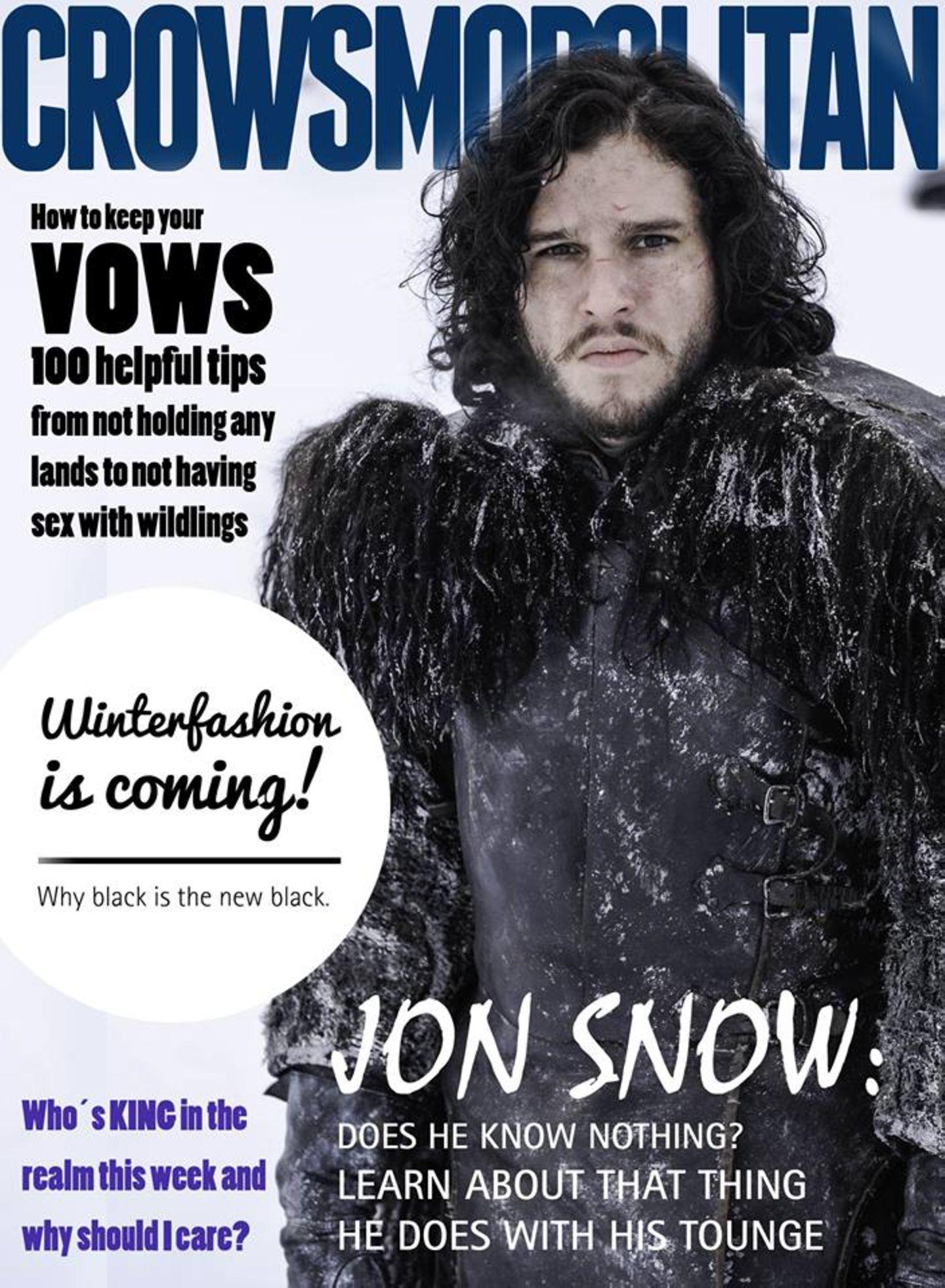 Jon Snow sieht ohnehin schon aus wie ein etwas verfrorener Boygroup-Frontman und passt daher bestens aufs Magazin-Cover.