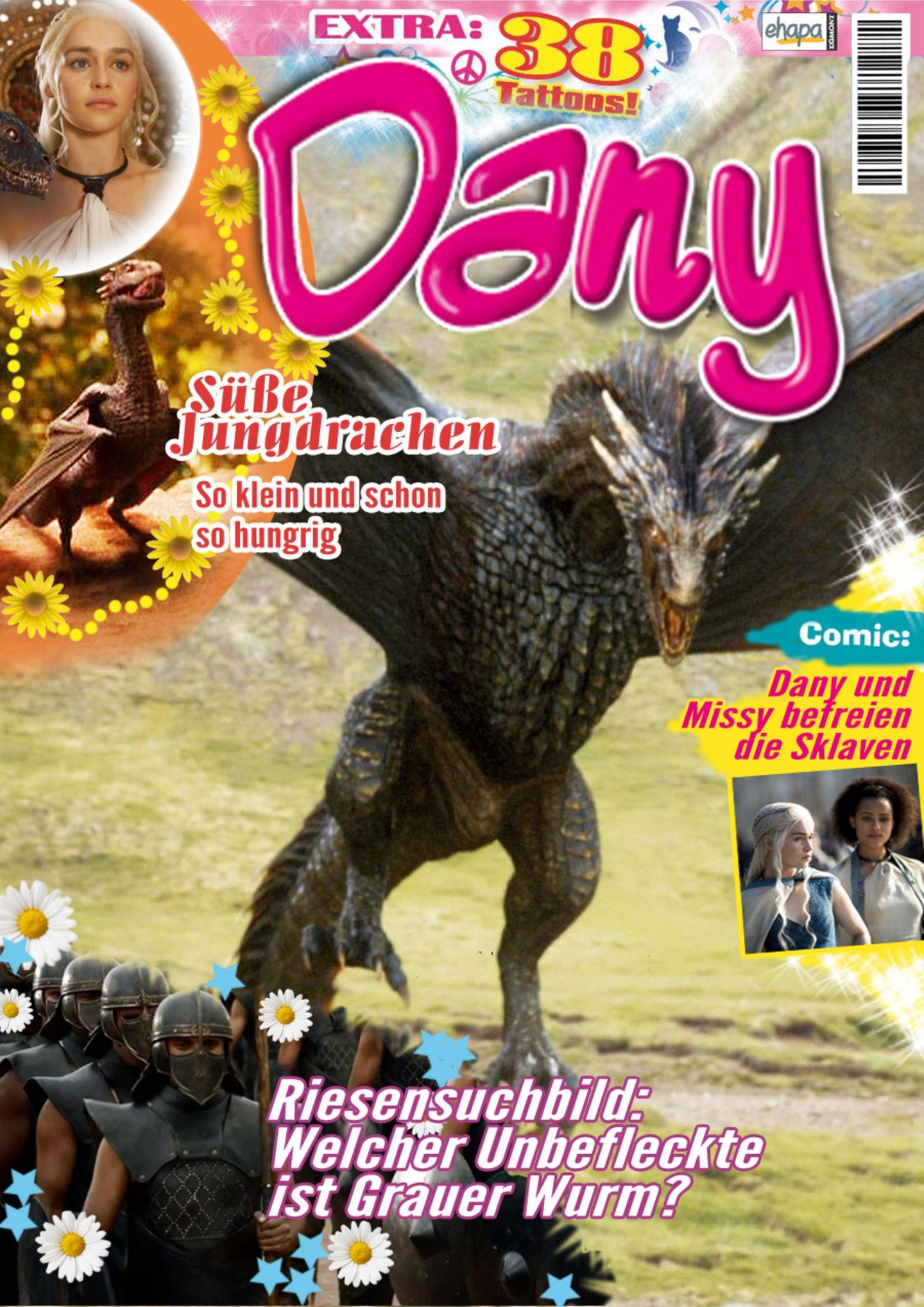 Ponyhof-Geschichten? Nein, Khaleesi möchte bitteschön eine etwas passendere Zeitschrift haben. Die holt ihr bestimmt Ser Jorah Mormont alle zwei Wochen vom Kiosk und hofft, dass diese Geste endlich punktet.