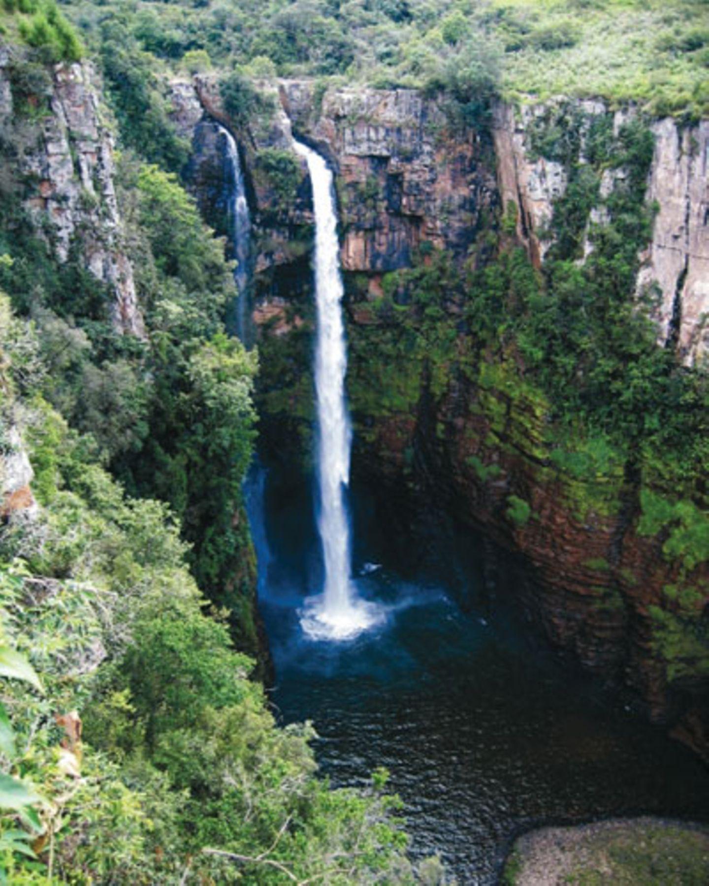 Südafrika - auf dieses Land wird 2010 die Welt schauen. Wir zeigen Ihnen schon einmal traumhafte Landschaften und eine faszinierende Tierwelt (aus: Bilderreise an das Ende des Regenbogens, National Geographic) An der Panorama-Route liegen viele wunderschöne Wasserfälle - wie diese MacMac-Falls.