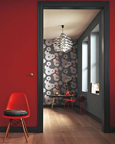 Zimmer Tapete In Rot Und Grau