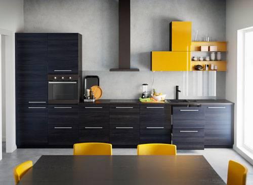 Küche modern schwarz gelb
