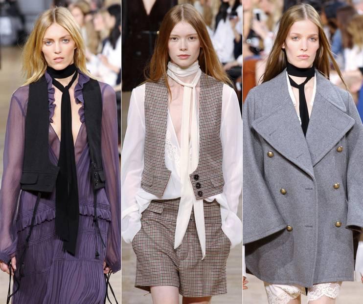 Trendteil: Was modebewusste Männer tragen, um ein wenig einfallsreiches Outfit aufzupimpen, ist jetzt auch wieder für Frauenhälse en vogue. Gesehen haben wir den sogenannten Skinny Scarf (dt. dünner Schal) in der Herbst-/ Winter-Kollektion von Chloé-Designerin Claire Waight Keller. Man kann den schmalen Stofffetzen ja belächeln. Weil er eben jene Hauptfunktion des Schals, die, wie wir wissen, aus Wärmen besteht, nicht so wirklich erfüllt. Aber dann müssten wir auch Pumps, Humpelröcke und allgemein jegliche Art von Mode und Accessoires belächeln, die über ihre reine Funktionalität hinaus Ästhetik und Anmut versprühen. Und genau darum geht es beim Skinny Scarf: Er ist ein Blickfang am Hals, ein hübsches Accessoire - und mit der richtigen Bindetechnik wird die Sache zunehmend interessanter.
