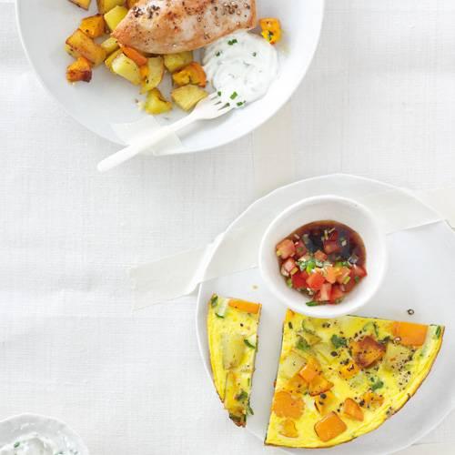 Rosmarin-Kürbis-Kartoffeln und Rosmarin-Tortilla