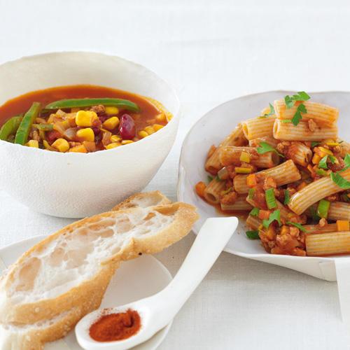 Soja-Bolognese und Chili sin carne