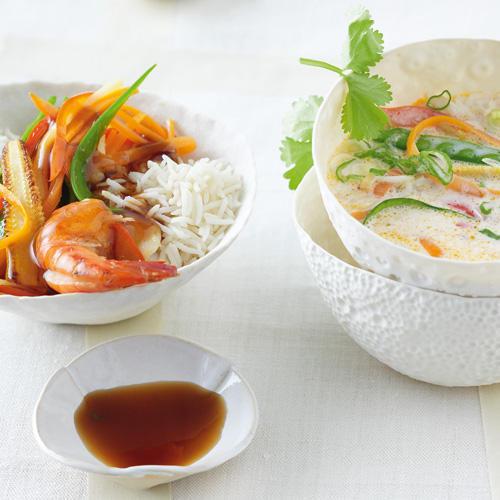 Teriyaki-Reistopf und Thai-Curry