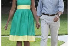 Wie man als First Lady zum Picknick im hauseigenen Garten geht? In Mint und Pastellgelb. Ist doch wohl sonnenklar. Mit diesen mädchenhaften Trägern sieht man Obamas Ehefrau häufig. Erfrischend.