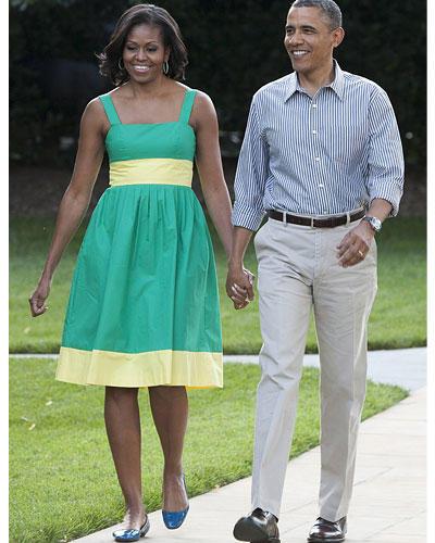 US-Wahl: Wie man als First Lady zum Picknick im hauseigenen Garten geht? In Mint und Pastellgelb. Ist doch wohl sonnenklar. Mit diesen mädchenhaften Trägern sieht man Obamas Ehefrau häufig. Erfrischend.