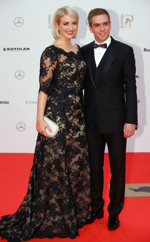 Stilkritik: Fußball-Star Philipp Lahm kam in Begleitung seiner Ehefrau und wurde, zusammen mit seinem Teamkollegen Miroslav Klose, mit dem Ehrenpreis der Jury ausgezeichnet.