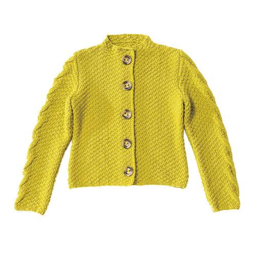Die Jacke mit Zöpfen (Größe M/XL) im Trachtenstil ist perfekt für Fortgeschrittene, sie wird überwiegend im Perlmuster gestrickt. Zur Strickanleitung: Jacke mit Zopfmuster