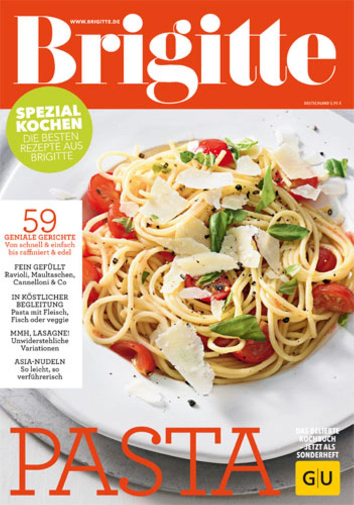 """Wir haben das beliebte BRIGITTE-Kochbuch """"Pasta"""" neu aufgelegt - Sie erhalten es für 5,95 Euro als Bookazine im Zeitschriftenhandel oder online im BRIGITTE-Shop."""