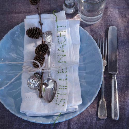 Servietten für Weihnachten besticken