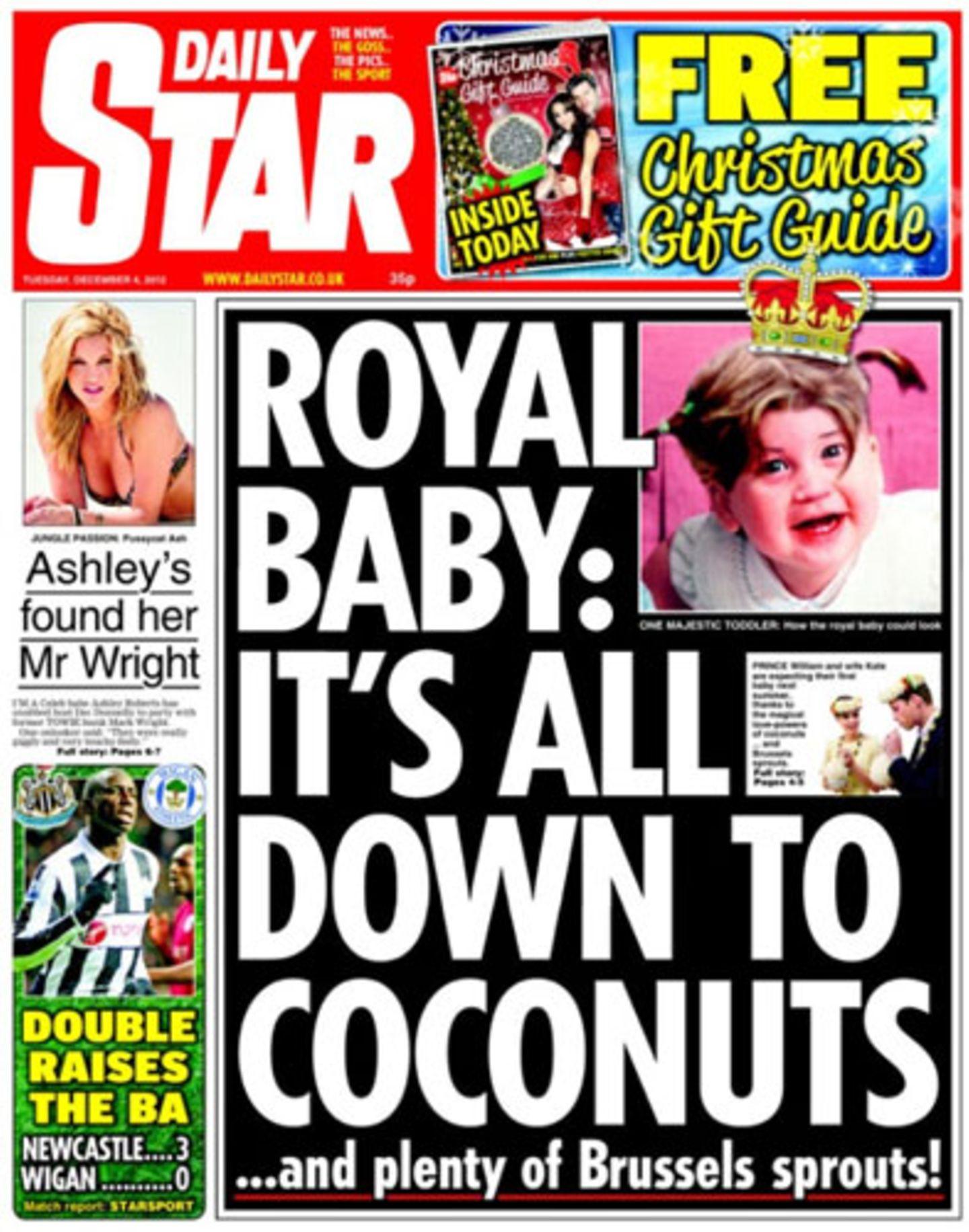 """Fallen Ihnen bei der Nachricht """"Royal Baby im Anmarsch"""" auch als erstes Kokosnüsse ein? Nein? Dann dürfen Sie keine Adels-Berichterstatterin werden."""
