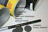 Materialien für schwarze Dose
