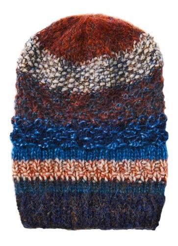 Diese gestreifte Mütze stricken wir mit vier Mustern: Persianermuster, Perlmuster, glatt rechts und Perlrippen. Das wird garantiert nicht langweilig!  Zur Anleitung: Gestreifte Mütze stricken.