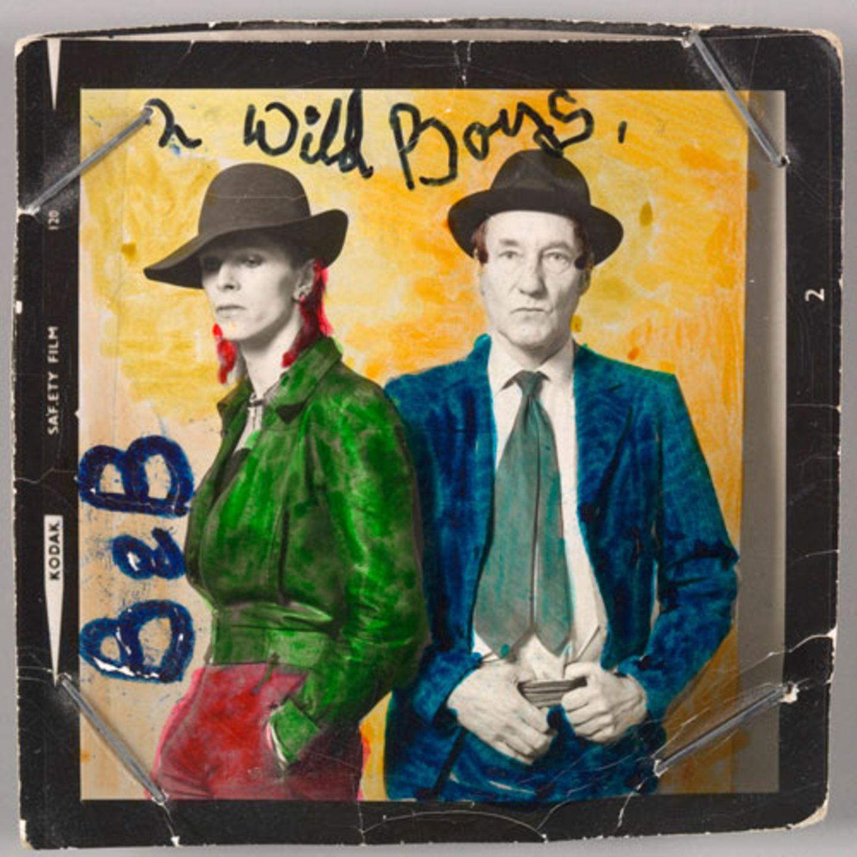 David Bowie mit dem Schriftsteller William Burroughs, Februar 1974 Fotografie von Terry O'Neill mit Farbauftrag von David Bowie