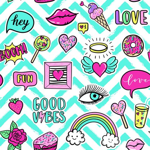 Muster mit Pop Art Stickern im Stil der 80er