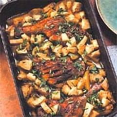 Wacholder-Entenkeulen mit Sellerie-Kartoffeln