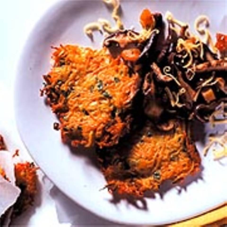 Möhrenpuffer mit Shiitake-Pilzen