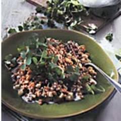 Getreiderisotto mit Sauerampfer und Sauerklee