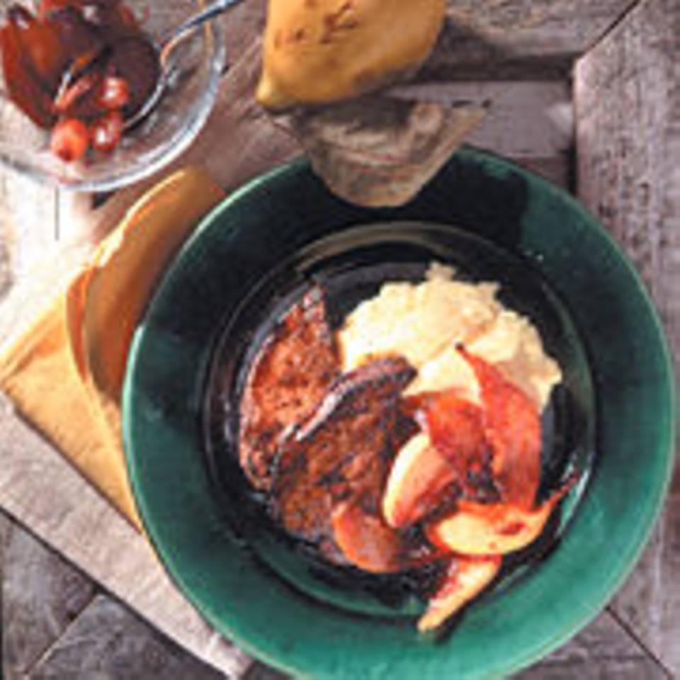 Kalbsleber mit Quitten und Balsamico-Schalotten