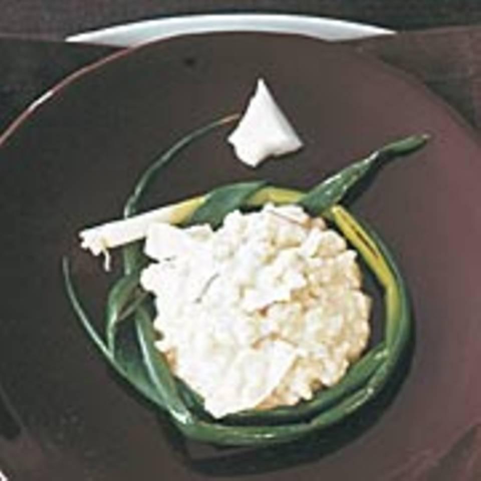 Kokosrisotto im Lauchzwiebelring