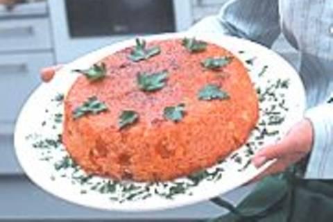Reiskuchen mit Hacksoße - Estamboli polo