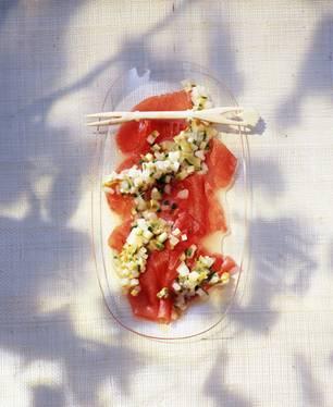 Thunfisch-Carpaccio mit Spargel-Vinaigrette