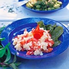 Tomatenrisotto mit Olivensalat