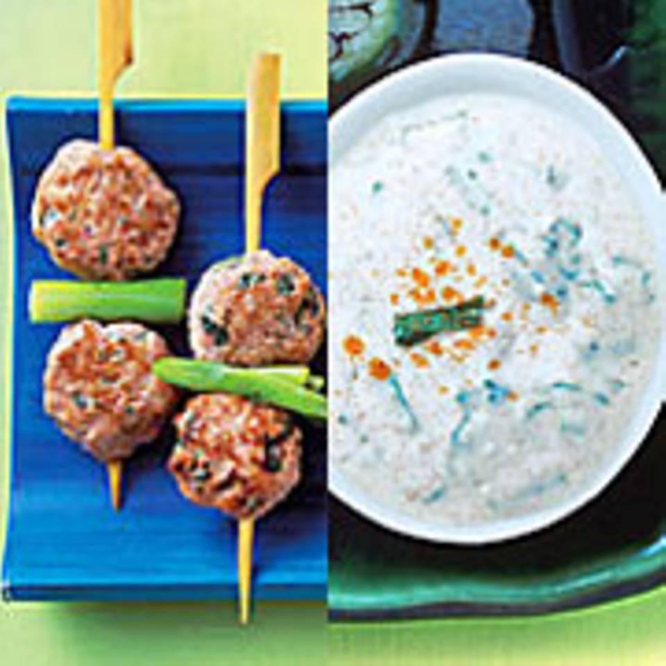 Tandoori-Geflügelbällchen mit Minz-Joghurt-Dip