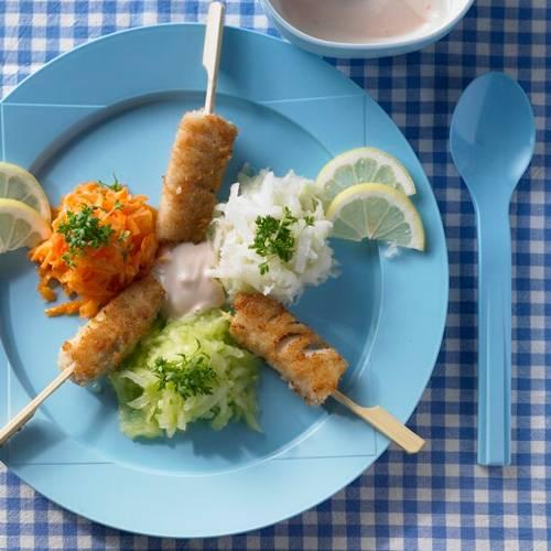 Fisch am Stiel mit bunten Gemüseinseln | BRIGITTE.de