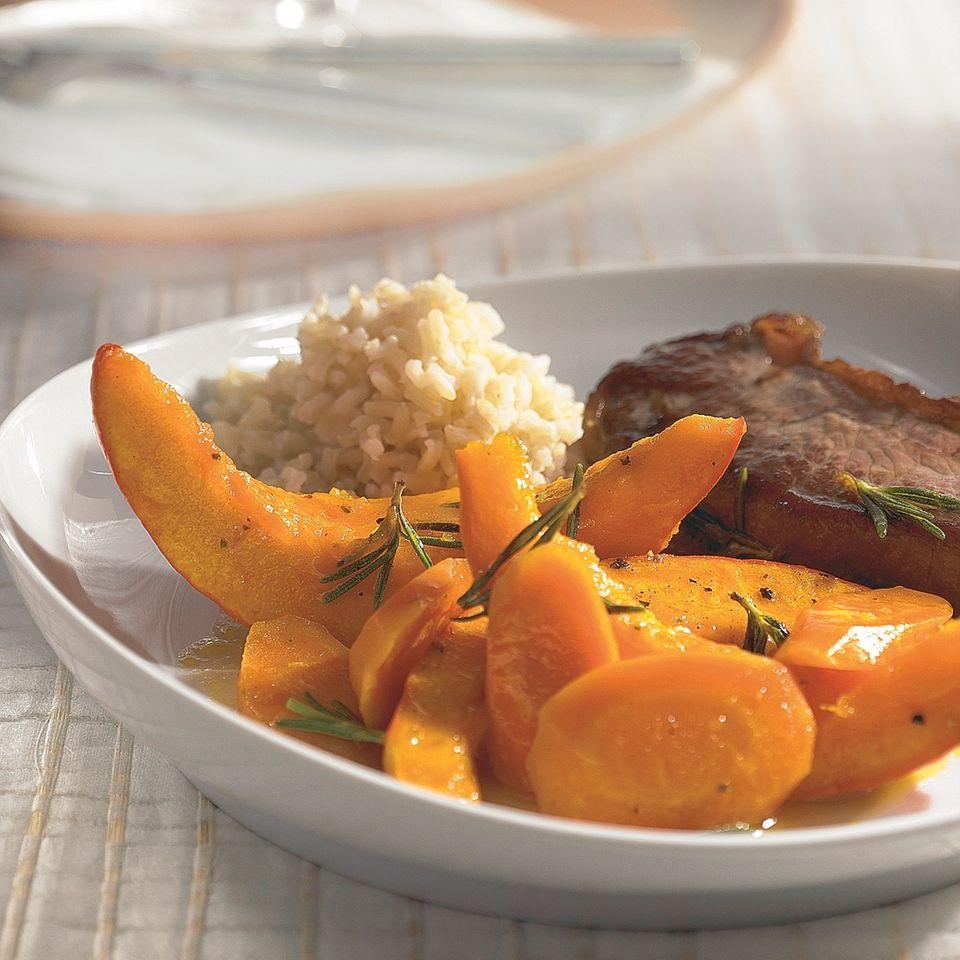 Rumpsteak mit karamellisiertem Kürbis-Gemüse