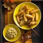 Kartoffelspalten mit Kürbis-Senf-Dip