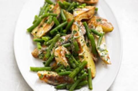 Kartoffel-Bohnensalat mit Frischkäse-Mohn-Dressing