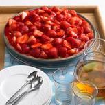Pudding-Tarte mit Erdbeeren